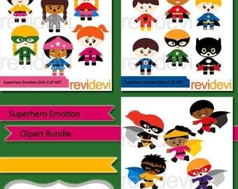 Superhero emotion clipart bundle - boys and girls superheroes clipart - standing and running superhero clip art