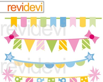 Birthday bunting banners clipart - hanging banners clip art - digital images, instant download - commercial use