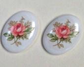 Vintage Japanese Porcelain LIMOGES OVAL CABOCHON Flower Bouquet 18x13 mm pkg4 por224