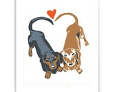 "Dachshunds in Love  8"" x 10"" Art Reproduction"