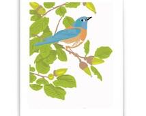 "Bluebird in Live Oak 8"" x 10"" Art Reproduction"