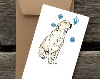 Labrador with Ornaments-- 8 Blank flat cards and envelopes