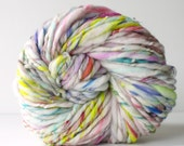handspun art yarn, soft wool, knitting crochet scarf yarn, sparkle glitter, bulky yarn, chunky crochet yarn, white rainbow .. glorious