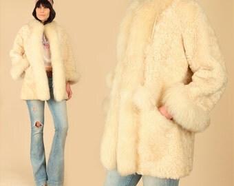 ViNtAgE 50's 60's Shearling Fur Coat Hat Set //Snow Bunny// Lamb Russian Princess Jacket // HiPPiE Boho Bohemian // Penny Lane // XS Small S