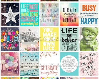 Happy Inspirational and Motivational Printable Sticker Sheet - Print at Home Happy Life Planner Quotes - fits Erin Condren Life Planner