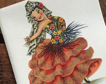 Vintage Dolls of Many Lands Card - Doll of Spain - Blank Inside - Unused