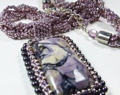 Mauve 90 Cts.Tiffany Calibrated Jasper Gemstone AAA Grade  90 Cts.Tiffany Calibrated Pendant Necklace Beaded Spiral Chain Statement Pendant