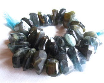 Organic Nuggets of Moss Aquamarine - 4 inches - 16mm X 8mm