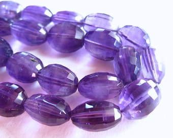 Fancy Step Cut Amethyst oval semiprecious stone beads - 4 1/2 inches