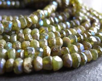 Mystic AB Vesuvianite - faceted semiprecious gemstones - 2mm X 3mm - 6 1/2 inches