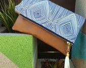 Vegan Tassel Clutch - Navy and White Geometric -andbag - Gold Zipper - Tan Faux Leather