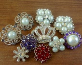 SALE 10pc Rhinestone Buttons DIY Craft Flower Centers / Crystal / Pearl Button