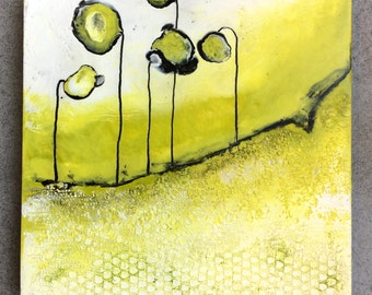 Original Encaustic Painting- Lime Flower