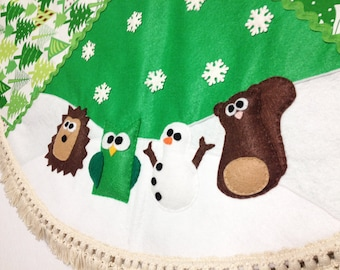 Tree Skirt, Christmas Tree Skirt, Green, Snowy Forest, Woodland, Hedgehog, Owl, Snowman, Squirrel, Gifts under 100