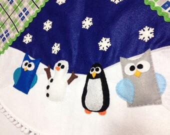 Tree Skirt, Christmas Tree Skirt, Funky Festivities - Blue Argyle , Owl, Snowman, Penguin, Felt Animals, Christmas Decoration
