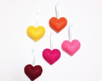 Felt Ornament Set - Summer Sprinkle Hearts - Holiday Decoration
