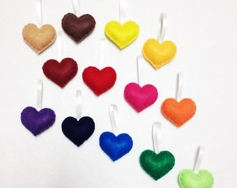 Felt Ornament Set - Rainbow Love - 13 Hearts