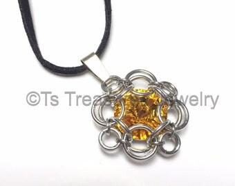 Sunflowers - Chainmaille wrapped Swarovski Rivoli Pendant