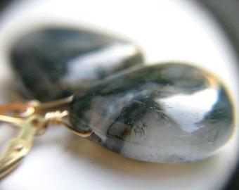 Large Drop Earrings . Moss Agate Jewelry . Gold Leverback Earrings . Green Teardrop Earrings . Natural Gemstone Earring - Dunedin Collection