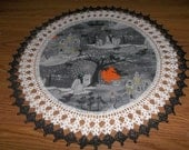 Crocheted Halloween Doily Haunted House Fabric Center with Crocheted Edging 20 inches