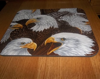 Mouse Pad, Bald Eagles, MousePads, Desk Accessory, Office Decor, Handmade, Gift, Rectangle, Mouse Mat, Computer Accessory, Brown
