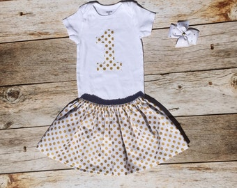 Baby girl 1st birthday outfit gold polka dots 12 months short sleeves