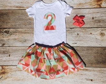 2nd birthday outfit geo print gold coral teal