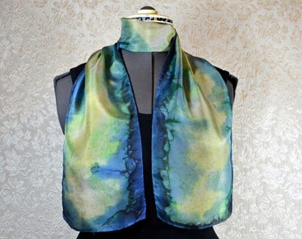 Hand dyed silk scarf, rectangle, in cream, yellow, green, and blue
