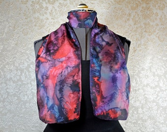Hand dyed silk scarf, rectangular, in red, purple, and blue