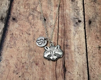 Raccoon initial necklace - raccoon jewelry, forest necklace, woodland jewelry, animal necklace, nature jewelry, silver raccoon necklace