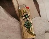 Bic Vintage Rhinestone And Flower Lighter Case- Bohemian GYPSY Style
