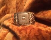 DESTASH, Vintage Gold Heart Bracelet, Heart Bracelet, Victorian Bracelet, Brass Cuff Bracelet, Rhinestone Heart, Gold Heart, Flourishes