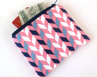 Coin Purse - Change Purse - Zippered Wallet - Zip Wallet - Zippered Pouch - Chevron - Coral and Navy - Small Gift Ideas