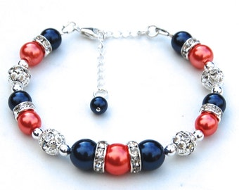 Navy and Coral Pearl Rhinestone Bracelet, Bridesmaids Gifts, Summer Wedding Jewelry, Coral Navy Wedding, Bling Bracelet