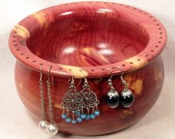Handmade Red Cedar Earring Holder Bowl