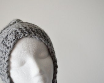 Goblin Hat - Light Grey Pure Wool Pixie Hat with Earflaps and Long Flat Ties - Handknit, Handmare, Natural, Winter's Hat