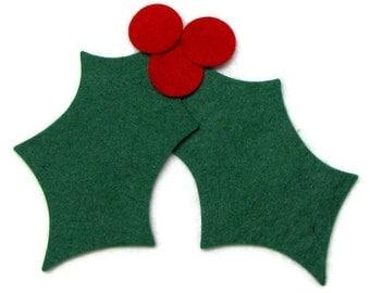 Diecut, HOLLY, Holly Leaves, DIY,  Wool Felt Blend,  Appliques, Christmas, holidays, precision die cut