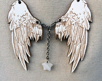 Moonlight White Wings pendant - puppetry pendant with mother of pearl star