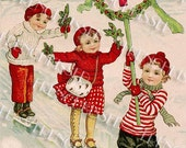 Three Victorian Ice Skaters Christmas Winter Holiday New Year Gift Tag Instant Download