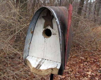 Old Barnwood Metal Roof Birdhouse Mailbox