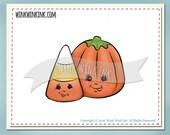 Digital Stamp - Sweet BFFs - Candy corn and pumpkin friends - Halloween digi