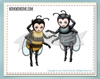 Digital stamp - Buzzy - bee or fly - printable bug digi image