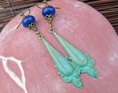 blue green earrings Gift for her Bohemian jewelry patina lapis earrings