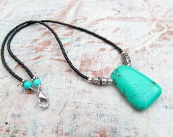 Turquoise pendant necklace beaded stone necklace bohemian jewelry gift under 30
