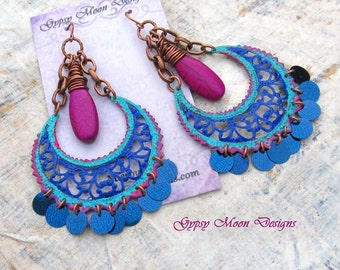 Boho earrings, Bold earrings, Gypsy earrings, colorful chandelier earrings, Boho Bohemian jewelry