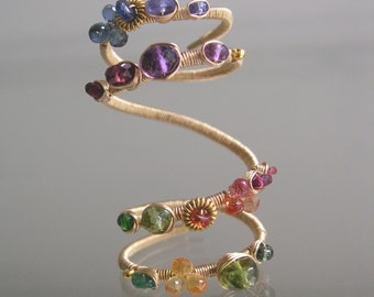 Multi Gemstone Gold Filled Ring, Stacked Four Layer Ring, Wire Wrapped, Over the Knuckle, Original Design, Size 8