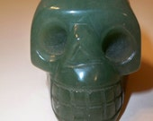 Crystal Skull Carved in Aventurine Skull Home Decor, Collectible Figurine, Spiritual, Metaphysical Carved Green Skull