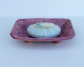 Ceramic Soap Dish,Footed, geometric design, Crimson