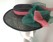 1940's Short Brim Black Straw Hat with Peony Pink and Green Tulle Bow - Spring Easter Hat - New York Creation