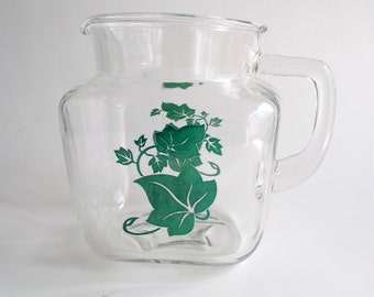 Glass Pitcher Iced Tea Carafe with Green Ivy Decal Retro Mid Century Federal Glass